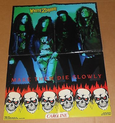 White Zombie Make Them Die Slowly Poster Original 1989 Promo 18x24