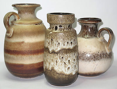3 Vintage SCHEURICH West Germany Pottery Lava Glaze Vases Exc Cond Great GIFT!