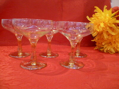 5  x MARIGOLD STEMMED WITH  IRIDESCENT Colored  WINE Glasses