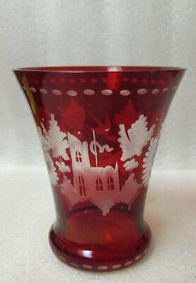 VINTAGE BOHEMIAN RUBY Cut to Clear ETCHED ENGRAVED GLASS EGERMANN Vase 4.25""