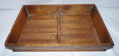 """Viintage Wooden Divided Tray with Middle Handle 12.25 x 8.5 x 2"""""""