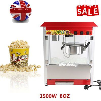 1.5KW Popcorn Machine Commercial Electric Pop Corn Maker Popper Party Red 8Oz
