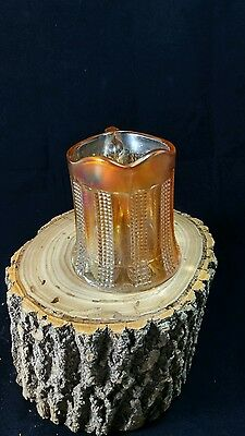 Vtg Marigold Colored Diamond Point and Columns Carnival Glass Creamer Container