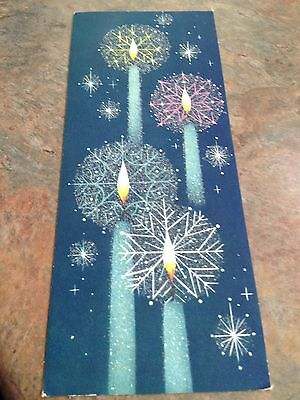 Vtg Christmas Card Mid Century Atomic Turquoise Blue Candle Snowflakes Mica