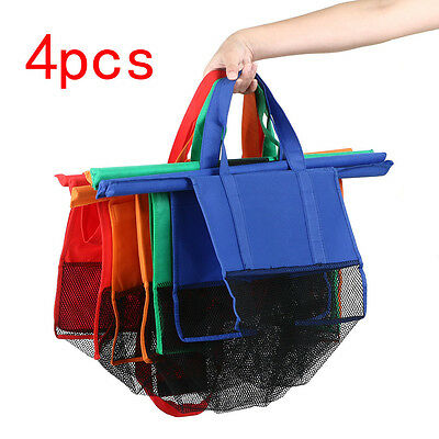4 Bags Eco-friendly Reusable Foldable Grocery Cart Trolley Bags Shopping Carrier
