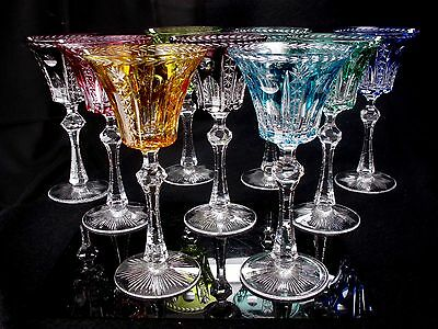 """Bohemian Czech Set of (9) 8-3/4"""" Tall Cut to Clear Crystal Wine Goblets"""