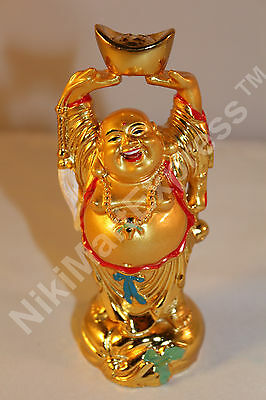 Golden Chinese Feng Shui Love Health Wealth Laughing Happy Buddha w Gold Ingot