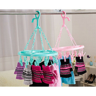 18 Pins Plastic Drying Hanger Rack Laundry Hanging Sock Clothes Footwear Circle