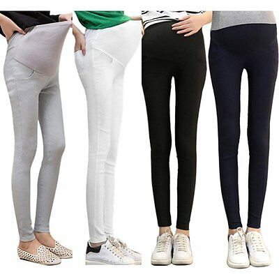 Pregnant Womens Adjustable Abdominal Maternity Pants Elastic Leggings Trousers