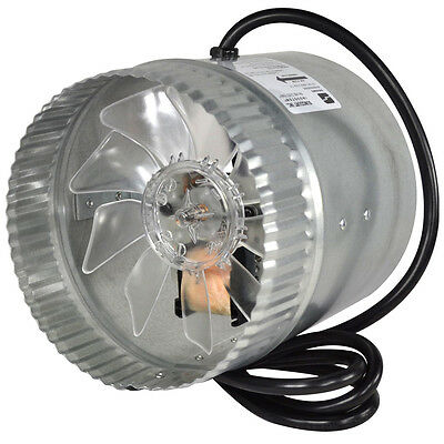 """8"""" Galvanized Steel Metal Round Air Duct Inline Blower Fan Axial Electric Cord"""