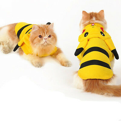 Cup Dog Clothe Pet Cute Pokemon Pikachu Halloween Costumes Coat Winter Puppy Cat