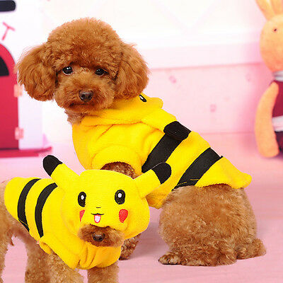 Cup Dog Clothes Cute Pet Halloween Pokemon Costumes Coat Winter Puppy Cat