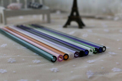 """3PCS Colorful Glass Straw For Party Drinking Juice Cocktail 8mm Dia 7""""+1 Brush"""