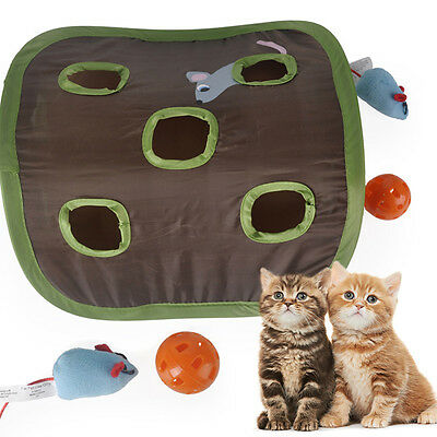 Pet Cat Kitten Catch Hunt Mouse Tent Mice Motion Toy Ball Bell Interactive Train