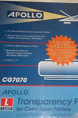 New Sealed Apollo Transparency Film Hp Color Laser Printers Cg7070 50 Sheets