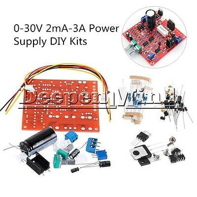 0-30V 2mA-3A Adjustable DC Regulated Power Supply DIY Kit Short Protection PCB