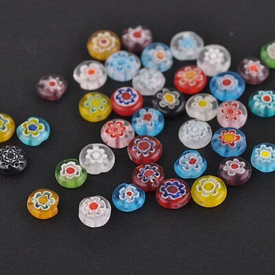 Lots 50/100x Assorted Mixed Flat Millefiori Charm Loose Spacer Beads Jewelry DIY