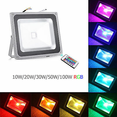 10/20/30/50/100W Remote Control RGB LED 16 Colour Changing Flood Light Spotlight