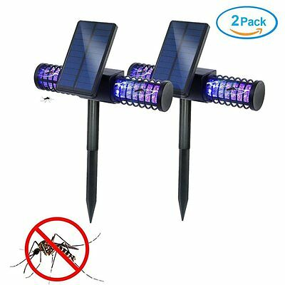 2 Pcs Best Solar Powered Outdoor Light and Bug Zapper Fly Mosquito Killer Patio