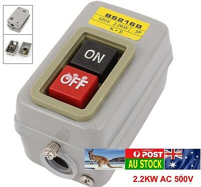 .Metal Box AC 500V/2.2KW 3P ON/OFF Push Button Latching Switch BS216B AU