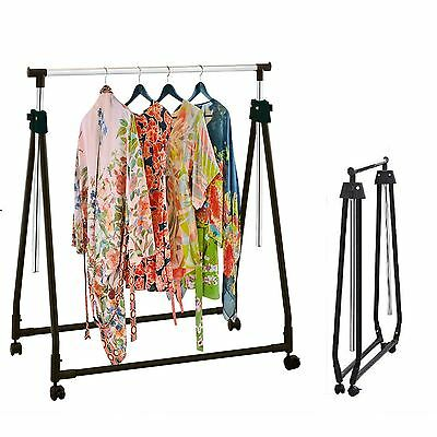Collapsible Adjustable Garment Rack Coat Hanging Rail Clothes Stand with Wheels