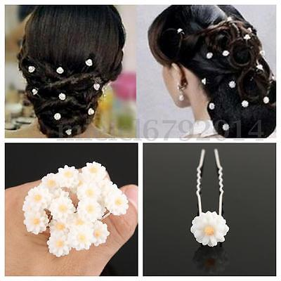 20Pcs Wedding Bridal White Flower Hair Pins Clips Rose Pearl Party