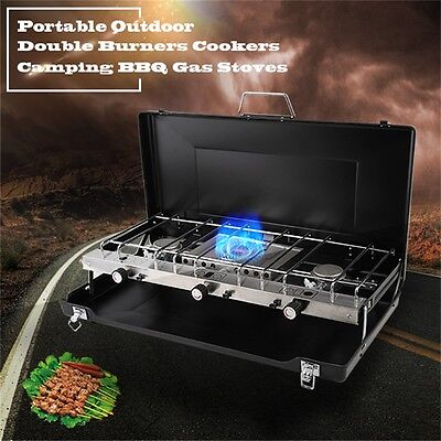 NEW Camping Trip Outdoor Portable Size Double Burner Gas Stove with Grill Cooker