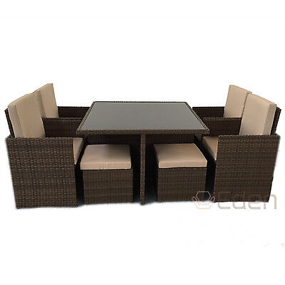 8-Seater 9-Piece Brown Rattan Cube Dining Glass Table/Chair Set Garden Furniture