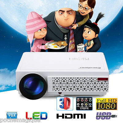 5000 LM LED 96+ Nativo 1920x1080 3D Proyector Movie Cinema 10000:1 KTV USB HDMI