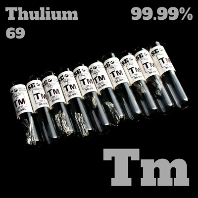 Thulium Element Sample 99.99% 1-2 g Tm 69 Metal in glass vial under argon
