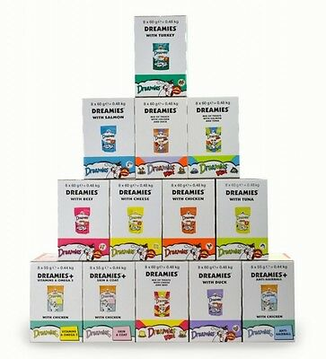 Dreamies Cat Treats Selection Of Flavours Multi Pack of 8 - 4 Boxes of each