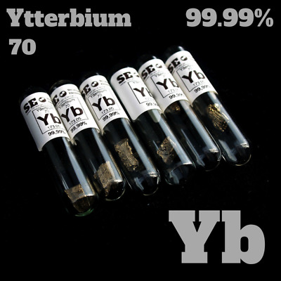 Ytterbium Element Sample 99.99% 1-2 g Yb 70 Metal in glass vial under argon