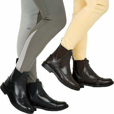 Joy Rider Black Brown Horse Riding Equi Leather Ladies Front Zip Jodhpur Boots