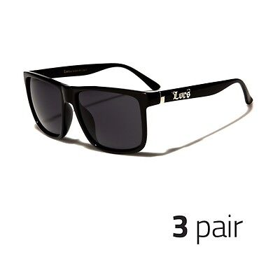 7b11c028dd 3 PAIR MEN DARK LENS Vintage GANGSTER BLACK OG SUNGLASSES LOCS BIKER GLASSES