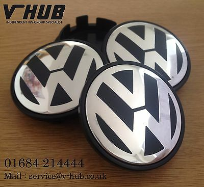 Volkswagen Alloy Wheel Centre Caps x4 65mm Golf MK5