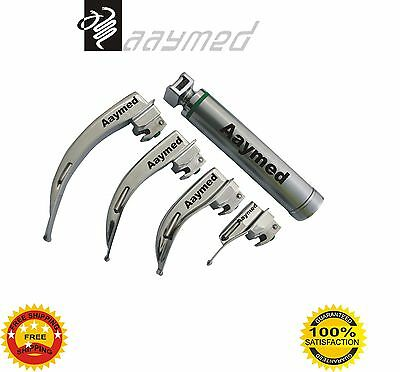 Macintosh Fiber Optic Laryngoscope Set No. 0, 1, 2 & 3 Blades LED Bulb free ship