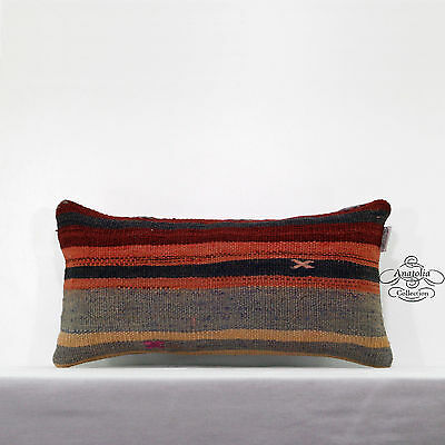 Vintage Lumbar Kilim Pillow Cover Ethnic Cottage Striped Turkish Cushion Cover