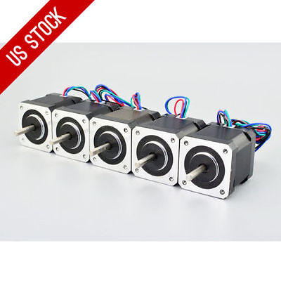 US Ship 5pcs Nema 17 Stepper Motor Bipolar 84oz.in(40Ncm) 4-lead 3D Printer CNC!