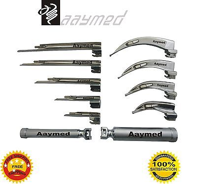 Laryngoscope Set Macintosh & Miller 9 Pcs. Blades & 2 Handle Surgical free ship