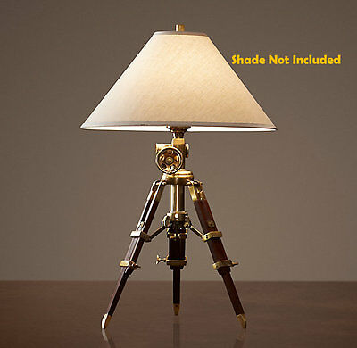 Hollywood Restoration Hardware Royal Marine Surveyor's Tripod Table Desk Lamp