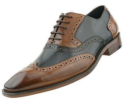 Asher Green Mens Two Tone Black & Tan Genuine Leather Wingtip : AG100-028