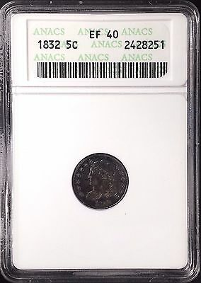 1832 Capped Bust Half Dime certified EF 40 by ANACS!