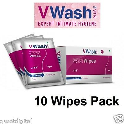 10 V-Wash Intimate Hygiene Wipes Feminine Cleansing Wipes Individual Sachets