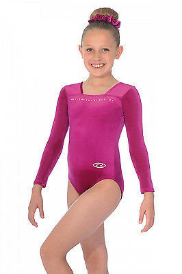 The Zone Sparkle Jewel Long Sleeve Velour Gymnastics Leotard -Cerise Pink