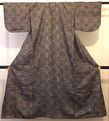Authentic Japanese grey kimono for women, imported from Japan (I778)
