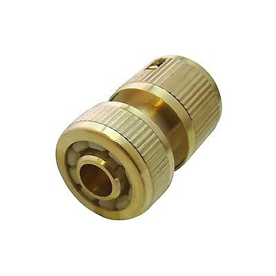 Brass Auto Water Stop Quick Fit Female Hose Pipe Connector Hoselock Clip 1/2""