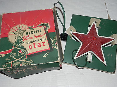 Glolite Huminated Christmas Tree Star Topper Vtg Light Up W/ Box Tested & Work