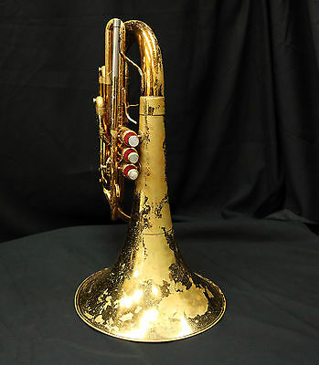 King 1122 Marching French Horn Bb {Rough Condition}  Plays Well