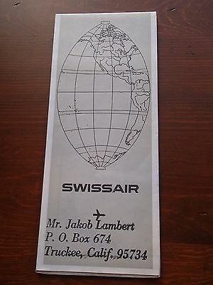 1960 Swissair Airlines System Route Map