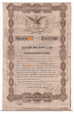 Black Eagle Bond - Tesorería General, 20,000 Pesos, 6% al Año, 1843